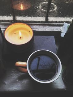 coffee, candle, and rain image