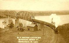 Bridge Crossing, Missouri River at Bismarck, North Dakota Railroad Bridge, Missouri River, North Dakota, Minnesota, Places, Trains, Memories, Image, Heart