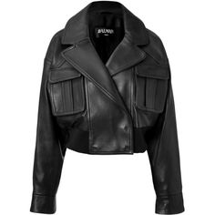 Balmain - Leather Cropped Bomber Jacket ($2,097) ❤ liked on Polyvore featuring outerwear, jackets, coats, balmain, black, leather jacket, women, cropped bomber jacket, long sleeve crop jacket and genuine leather jacket