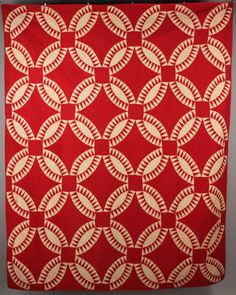 "East Tennessee pieced red and white quilt, geometric design. Overall very good condition with some staining. 85"" H x 68-1/4"" W. 20th century"