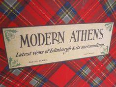 Home › Search Results › annegraham › Vintage Bookshop  Vintage Edinburgh Scotland Photography Postcard Book, Book Decor, Tartan Plaid Cover