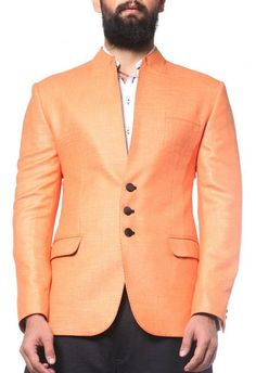 Get this #Peach and Black Raw #SilkJacket by #KomalSood