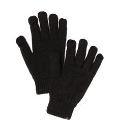 Plush Fleece Lined Smartphone Gloves - Black (64 CAD) ❤ liked on Polyvore featuring accessories, gloves, winterwear, black, cold weather, fleece lined gloves and cold weather gloves