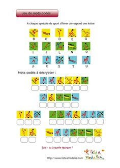 Jeu de mots codés : logos des sports des JO d'hiver 4 French Classroom, Classroom Door, Theme Sport, French Education, Periodic Table, Coding, Sports, School, Ens