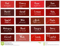 Illustration about Red Tone Color Shade Background with Code and Name Illustration. Illustration of candy, currant, palette - 63598851 Red Color Names, Shades Of Red Color, Red Paint Colors, Red Colour Palette, Colors Of Red, Different Shades Of Red, Red Kitchen Walls, Red Kitchen Cabinets, Kitchen Wall Colors