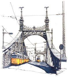 watercolor by @horiaki2  в Instagram Liberty Bridge , Budapest  #watercolor #watercolour #sketching #traveling #painting #paint #draw #drawing #bridge #architecture #urban #sketcher