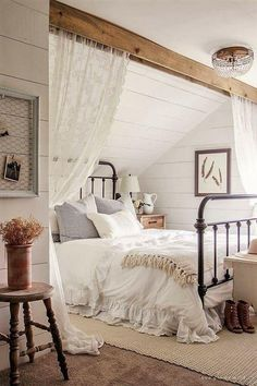 Dreamy country / farmhouse  bedroom with beam ceiling