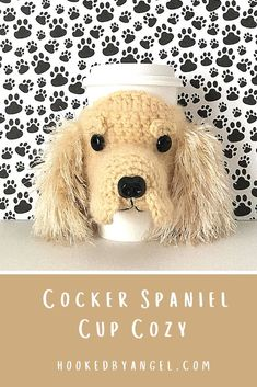 Can you handle the tail wag-worthy cuteness of this Cocker Spaniel cozy crochet pattern?! If you are or know a true dog lover you understand why this is a paw-some addition to any cup. You will never have so much fun crocheting! Dog Mom Gifts, Dog Lover Gifts, Parent Gifts, Family Gifts, Dog Lovers, Crochet Coffee Cozy, Crochet Cozy, Crochet Gifts, Free Crochet