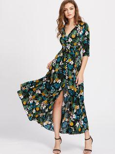 Shop Smocked Waist Tassel Tie Button Up Tropical Dress online. SheIn offers Smocked Waist Tassel Tie Button Up Tropical Dress & more to fit your fashionable needs.