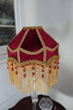 Red Velvet Crushed Deco Victorian Lampshade Downton Abbey Ruby Gold Fringe Beaded