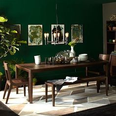 Cortlandt Dining Table from West Elm. One drop-in leaf expands the table to fit Dining Room Table Cortlandt Dining dropin Elm expands fit Leaf Table West Green Dining Room, Dining Room Table Decor, Living Room Green, Decor Room, Dining Room Design, Living Room Decor, Home Decor, Dark Wood Dining Table, Dining Chair