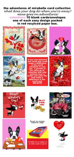 Boston Terrier Valentine's day card collection Mirabelle the boston terrier dog on Etsy, $22.00
