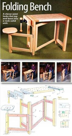 Folding Wood Carving Bench Plans  - Wood Carving Patterns and Techniques | WoodArchivist.com #WoodworkingBench
