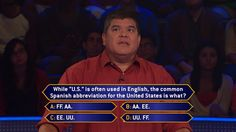 """Friday, Terry Price faces an English/Spanish stumper when he wraps up an all-new week of #MillionaireTV. Let's see how well you know abbreviations. Do you have the correct #FinalAnswer? Show us, then check out Terry's response on Friday's """"Millionaire"""" with host Chris Harrison. Find your station at MillionaireTV.com."""