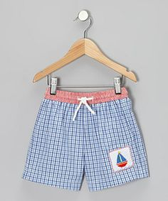 Take a look at this Blue Plaid Sailboat Swim Trunks - Infant, Toddler & Boys by Velani Classics on #zulily today!