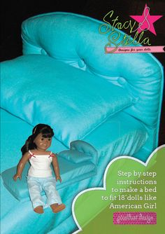 18 inch Doll Bed instructions for making a bed by pixeldustDesign, 3.99