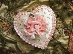 Vintage Valentine Candy Box Heart Shaped Fabric Chocolate Box with Velvet Rose