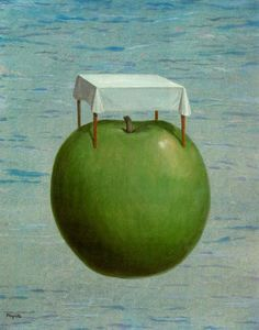 Fine realities - (Rene Magritte) I like how this painting shows the size of the apple and the space in the background. I also like how he switched almost everything up. Pia art 6/04