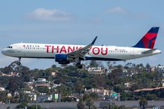 """The reason for today's socially distanced spotting trip was this, the Delta """"THANK YOU"""" jet. She is arriving from DTW as San Jose Airport, Domestic Airlines, Air Lines, Kids Running, Commercial Aircraft, International Airport, Planes, San Diego, Airplanes"""