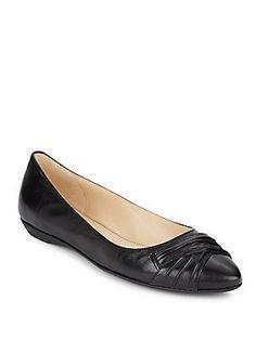 Nine West Tamora Leather Flats - Natural - Size 10