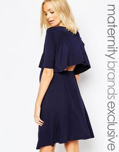 Bluebelle Maternity | Bluebelle Maternity Double Layer Swing Dress With Frill Back at ASOS