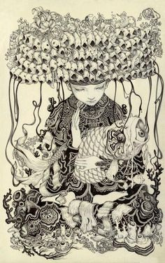 Inktober Art inspiration and artwork drawing by James Jean Moleskine, Kunst Inspo, Art Inspo, Art And Illustration, James Jeans, Arte Horror, Surreal Art, Japanese Art, Line Art