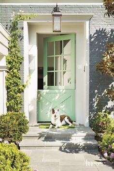 Mint Green Dutch Door – Pretty Gray Painted Brick House Previous Post Next Post Pintura Exterior, Front Door Paint Colors, Painted Front Doors, Paint Colours, Best Front Doors, The Doors, Cape Cod Style, Entrance Decor, Entrance Ideas