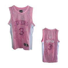NBA Philadelphia 76ers #3 Allen Iverson Pink Women Fashion Stitched Jersey