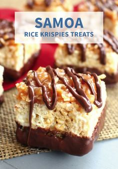 Snack happy with these cookie-inspired Samoa Rice Krispies Treats®! This easy dessert recipe is made with caramel sauce, coconut, and chocolate to complete one mouth-watering treat. They are so quick and effortless to make, so why not pop 'em in your lunchbox, or enjoy whenever you please.