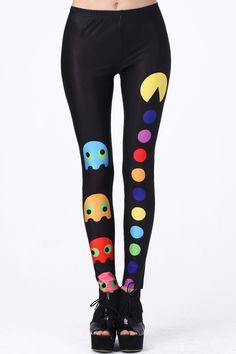 "Girl Fashion / ""Pac-Man"" Black Leggings"