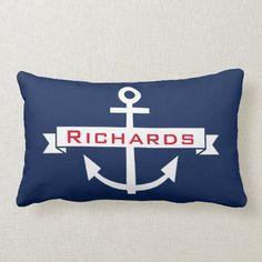 Anchor Navy Blue White Nautical Monogram Pillow