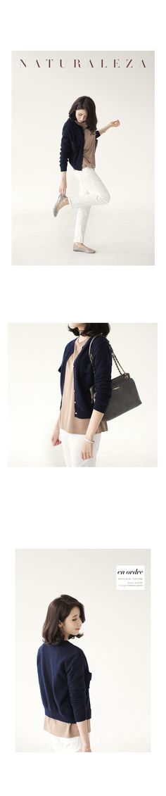 dholic. navy cardigan w/ pink beige inner and white pants