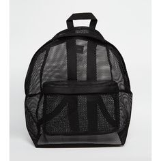 ASOS Mesh Backpack ($28) ❤ liked on Polyvore featuring bags, backpacks, bolsos, black, black rucksack, black mesh bag, transparent bag, black backpack and black zipper bag