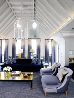 Connaught Hotel London The Apartment Penthouse Living Area Living Room Designs, Living Room Decor, Living Area, Dining Room, Ombre Curtains, Blue Drapes, Top Interior Designers, Blue Rooms, Contemporary Decor