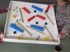 Diy marble run Preschool Kindergarten, Preschool Ideas, Craft Ideas, History Of Video Games, Marble Maze, Wacky Wednesday, Construction Area, Early Learning, Pinball