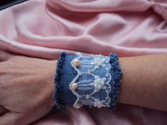 Denim cuff bracelet with lace, freshwater pearls and seed beads by LucianaDesigns via Etsy