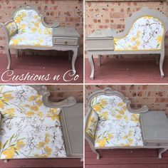 Beautifully upcycled antique telephone table. Painted in a taupe chalk paint and reupholstered in a beautiful upholstery fabric. Colour palette of yellows, olive greens & greys on an ivory back ground.  Has a glass top fitted on the side .  Perfect addition to an entryway, hallway or that nook thats missing a special something. Shipping is free to Sydney , Canberra , Wollongong , Nowra.  If your unsure if your suburb qualifies please send us a msg.