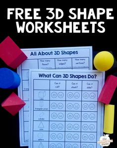 This is a great 3D shapes activity for kindergarten and first grade! Kids experiment with each shape to see if it can roll, stack, or slide. Then they color the happy or sad face. They count faces, edges, and vertices on the other worksheet. Love these! #shapes #teachingmath #kindergarten #3dshapes