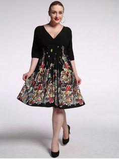 GET $50 NOW   Join RoseGal: Get YOUR $50 NOW!http://m.rosegal.com/plus-size-dresses/graceful-plunging-neck-half-sleeve-high-waist-floral-dress-for-women-558424.html?seid=26op1sjdst48lmcp4cslif0jo4rg558424