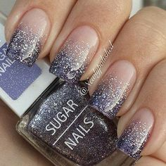 Gradient Purple and Silver Tipped Nail Design.
