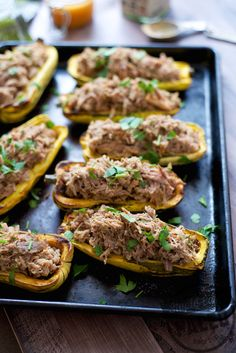 Paleo Pulled Pork Stuffed Squash...great for appetizers / party food when cut in half. | stupideasypaleo.com #paleo #realfood