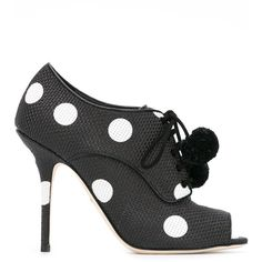 Dolce & Gabbana Polka Dot Open-toe Pumps ($995) ❤ liked on Polyvore featuring shoes, pumps, leather sole shoes, open toe pumps, black lace up pumps, black leather pumps and black pumps