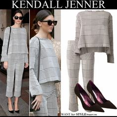Street Style: Kendall Jenner in plaid matching top and trousers with black pumps