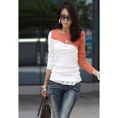 $5.93 Glamour Round Neck Color Block Splice Design Long Sleeve Slim Fit Cotton Blend T-Shirt For Women