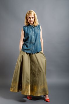 Dip Dye, Midi Skirt, Skirts, Red, Clothes, Collection, Tops, Design, Women