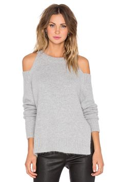 J.O.A. Shoulder Cut Out Sweater in Grey