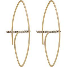 "Hirotaka Floating Diamond Bar Oval Earrings at Barneys.com  ""Gossamer Collection""  10k yellow gold and white diamonds"