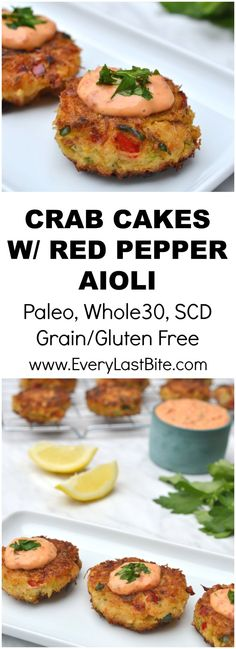 Cakes with Roasted Red Pepper Mayonnaise Delicious crab cakes that are crisp on the outside and packed with crab and herbs in the middle. (Paleo, Grain/Gluten Free, SCD, Dairy Free)Whole number Whole number may refer to: Crab Recipes, Paleo Recipes, Appetizer Recipes, Cooking Recipes, Gourmet Food Recipes, Recipes Dinner, Crab Cakes Recipe Best, Fancy Appetizers, Seafood Appetizers