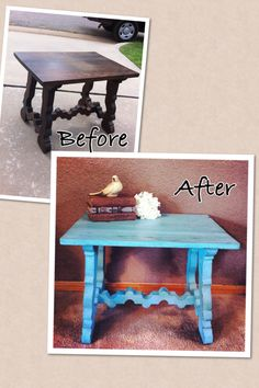 Turquoise chalk paint table refurb