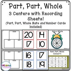 3 Part-Part-Whole centers, recording sheets, Part-Part-Whole mats, AND number cards! Perfect for small-group and centers! First Grade Math, Second Grade, Grade 1, Learning Centers, Math Centers, Learning Resources, Classroom Resources, Teacher Resources, Creative Teaching